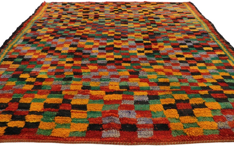 Post-Modern Vintage Berber Moroccan Boujad Rug with Cubism Postmodern Style For Sale