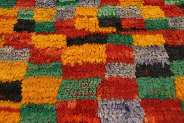 Hand-Knotted Vintage Berber Moroccan Boujad Rug with Cubism Postmodern Style For Sale