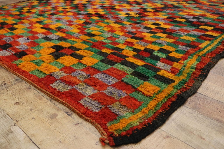 20th Century Vintage Berber Moroccan Boujad Rug with Cubism Postmodern Style For Sale
