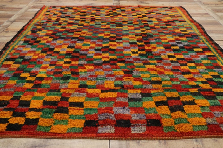 Wool Vintage Berber Moroccan Boujad Rug with Cubism Postmodern Style For Sale
