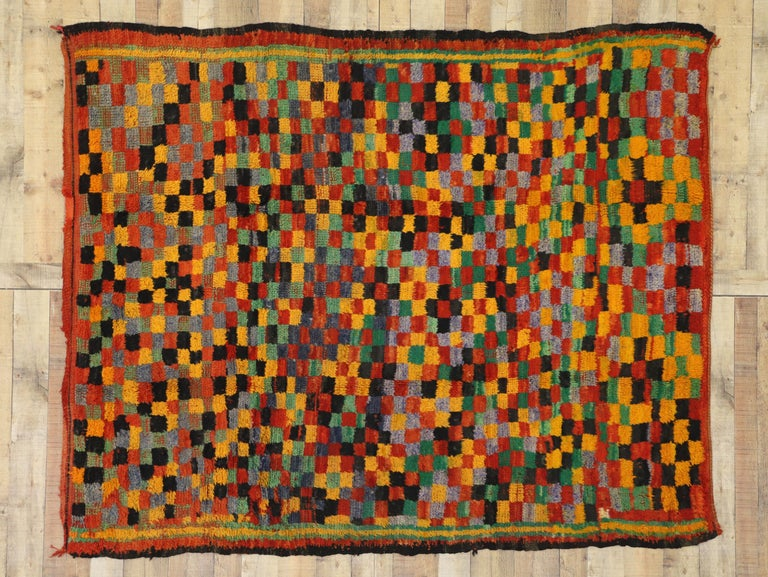 Vintage Berber Moroccan Boujad Rug with Cubism Postmodern Style For Sale 1