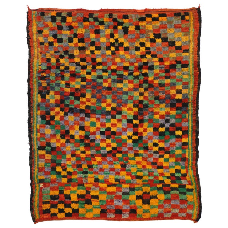 Vintage Berber Moroccan Boujad Rug with Cubism Postmodern Style For Sale