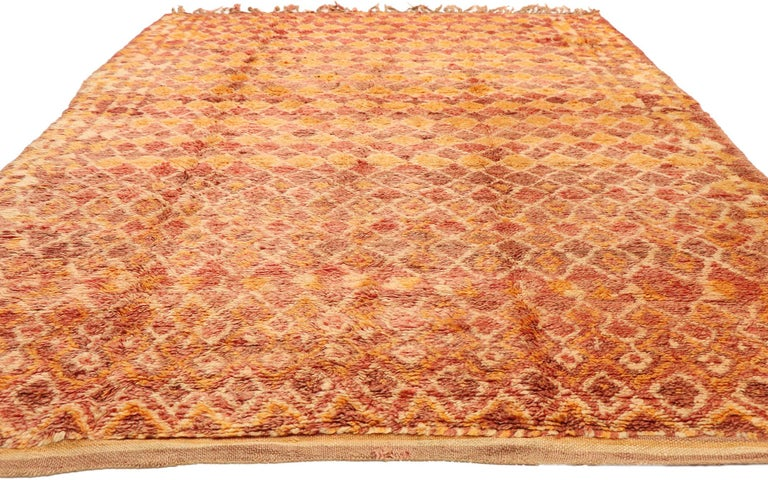Tribal Vintage Berber Moroccan Boujad Rug with Diamond Pattern and Modern Style For Sale