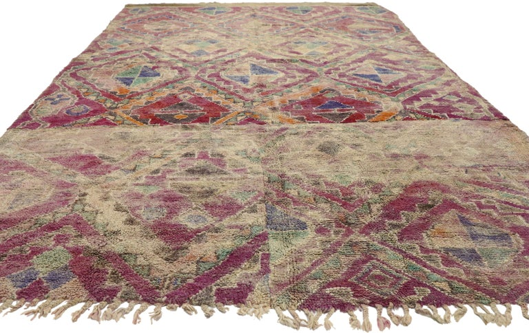 Hand-Knotted Vintage Berber Moroccan Boujad Rug with Hygge Bohemian Style For Sale