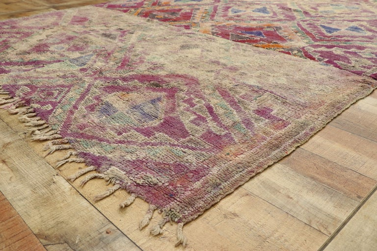 Wool Vintage Berber Moroccan Boujad Rug with Hygge Bohemian Style For Sale