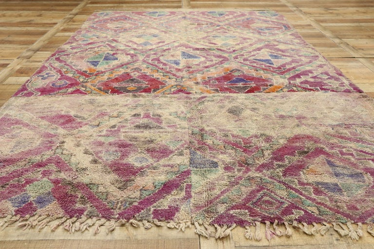 Vintage Berber Moroccan Boujad Rug with Hygge Bohemian Style For Sale 1