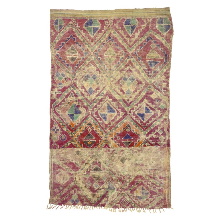 Vintage Berber Moroccan Boujad Rug with Hygge Bohemian Style For Sale
