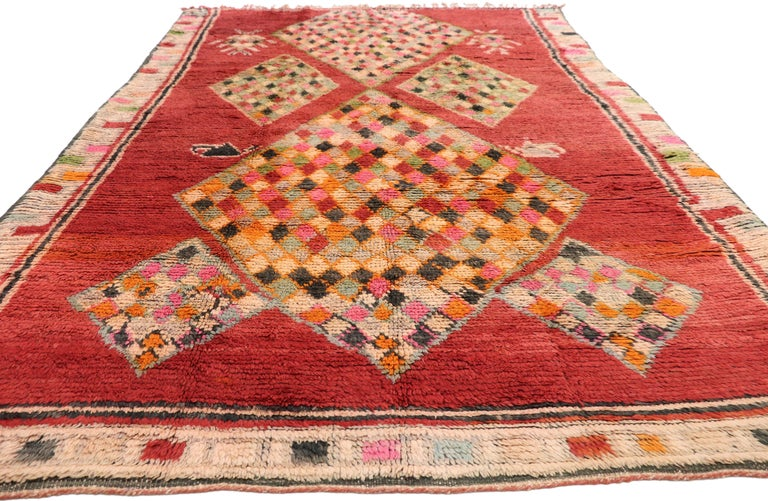 Hand-Knotted Vintage Berber Moroccan Boujad Rug with Tribal Style For Sale