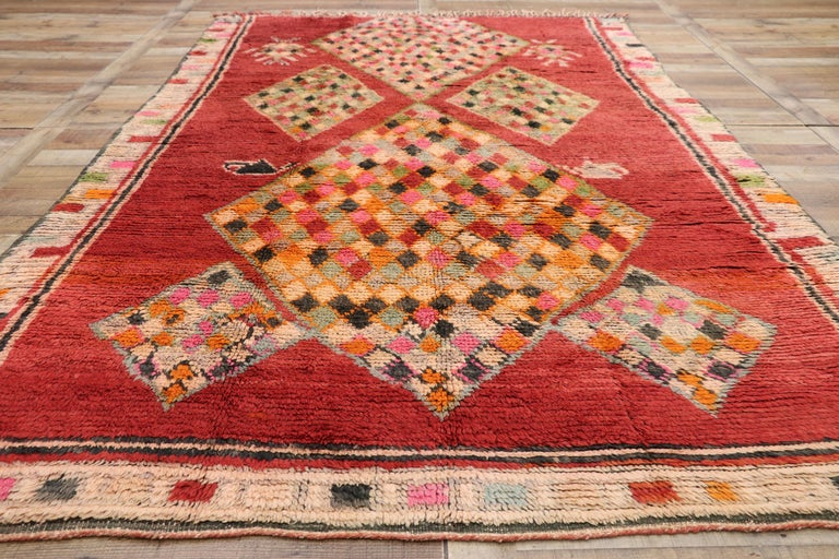 Vintage Berber Moroccan Boujad Rug with Tribal Style For Sale 1