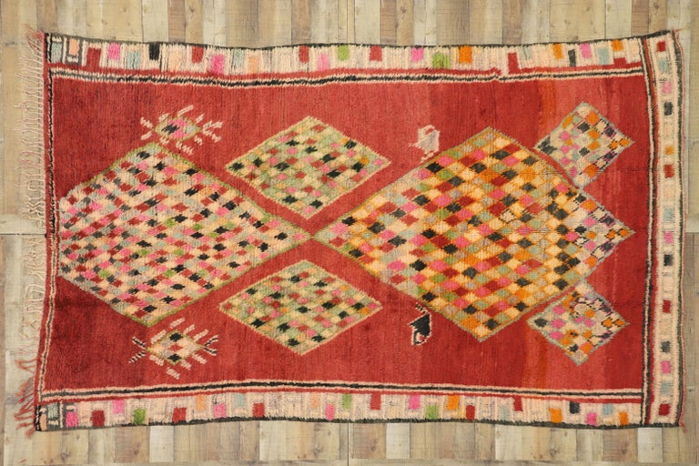 Vintage Berber Moroccan Boujad Rug with Tribal Style For Sale 2