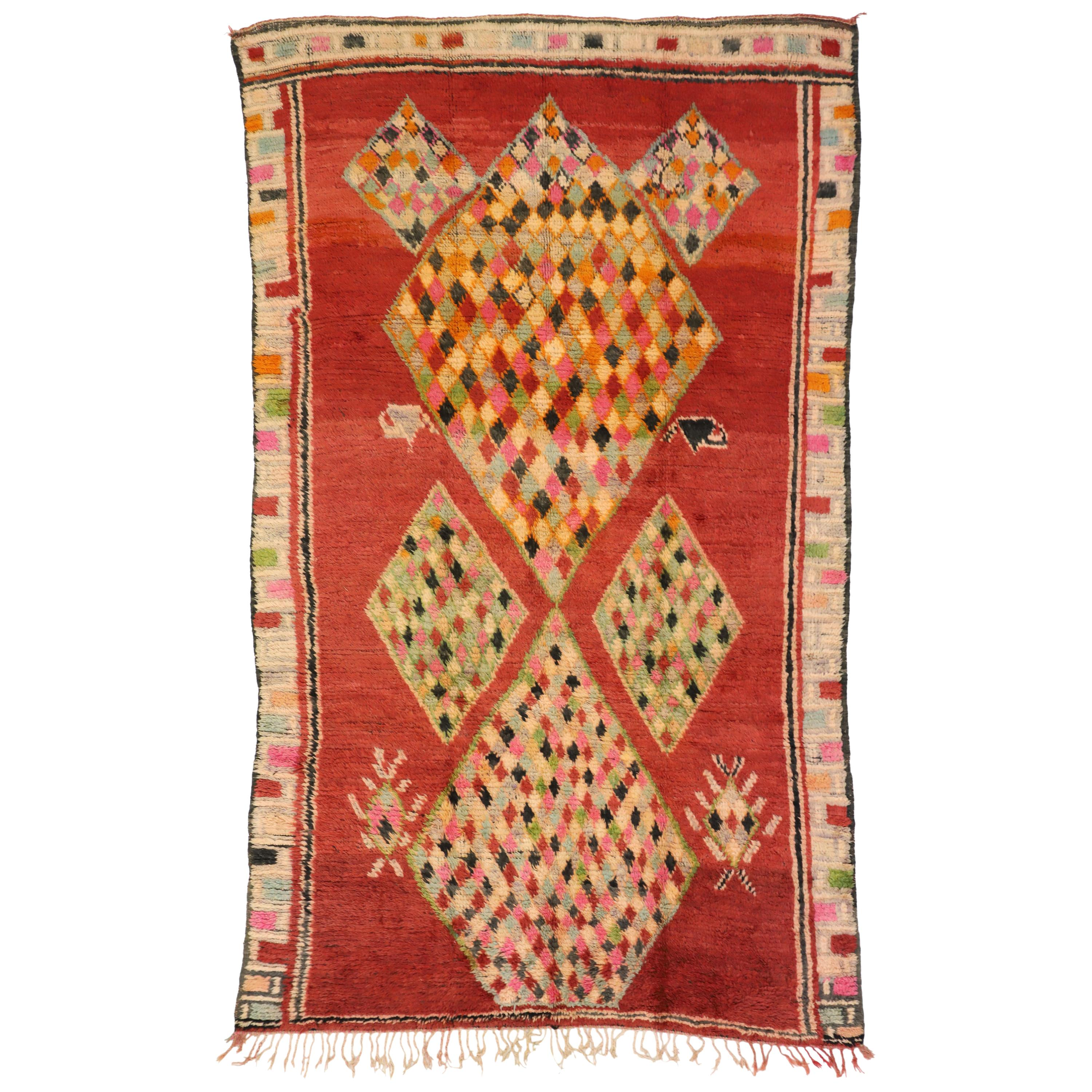 Vintage Berber Moroccan Boujad Rug with Tribal Style