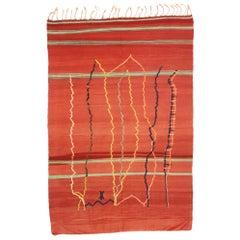 Vintage Berber Moroccan Hanbel Kilim Rug with Tribal Style, Flat-Weave Souf Rug