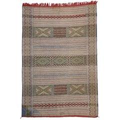 Vintage Berber Moroccan Kilim Rug, Flat-Weave Tribal Rug
