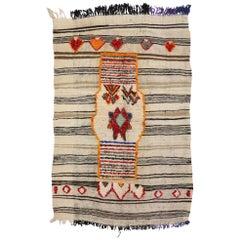 Vintage Berber Moroccan Kilim Rug, High and Low Texture Rug