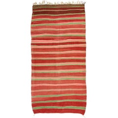 Vintage Berber Moroccan Kilim Rug with Stripes and Boho Chic Style