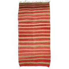 Striped Kilim Area Rug, Vintage Berber Moroccan Kilim Rug with Stripes