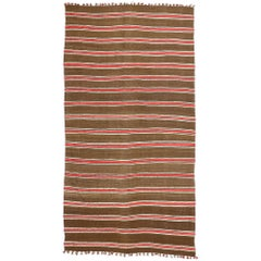 Vintage Berber Moroccan Kilim Rug with Stripes and MCM Style