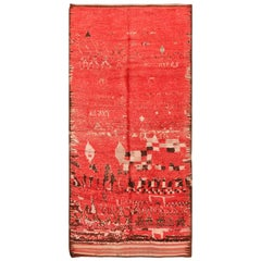 Vintage Berber Moroccan Red Rug. Size: 5 ft. 1 in x 11 ft. 5 in