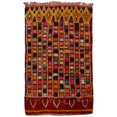 Vintage Berber Moroccan Rehamna Rug with Abstract Expressionist Style