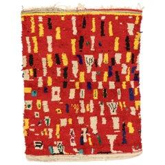 Vintage Berber Moroccan Rehamna Rug with Mondrian Cubist Style
