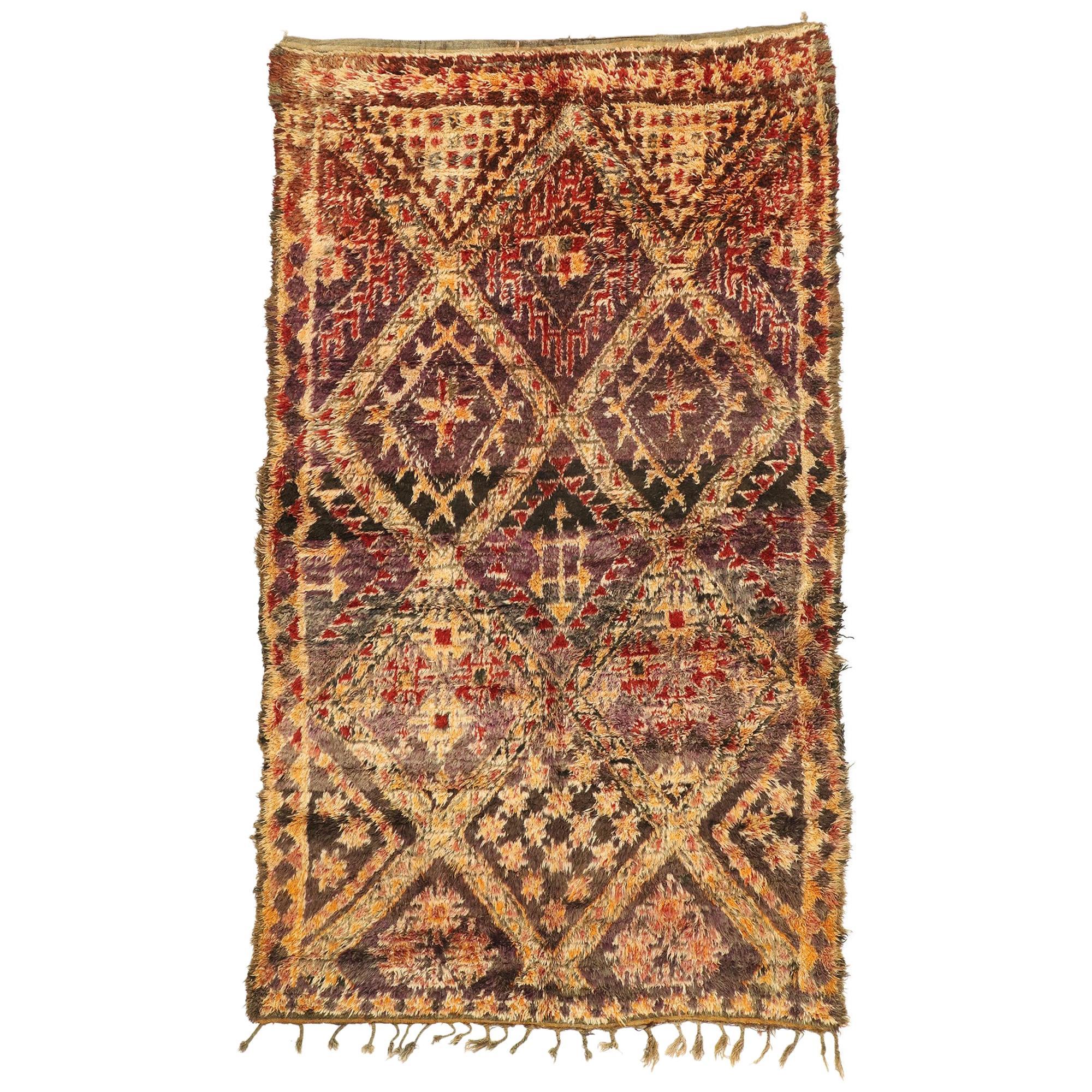 Vintage Berber Moroccan Rug, Brown Zayane Carpet with Mid-Century Modern Style
