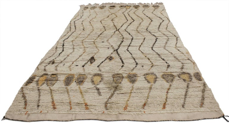 20571, Vintage Berber Moroccan Rug, Neutral Color Moroccan Rug. A creamy-beige oatmeal color provides a beautiful backdrop for the variegated shades of brown tribal design featured on this Vintage Berber Moroccan rug. More than the asymmetrical