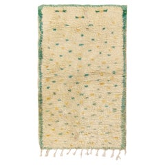 Vintage Berber Moroccan Rug in Beige, Green and Yellow Geometric Pattern