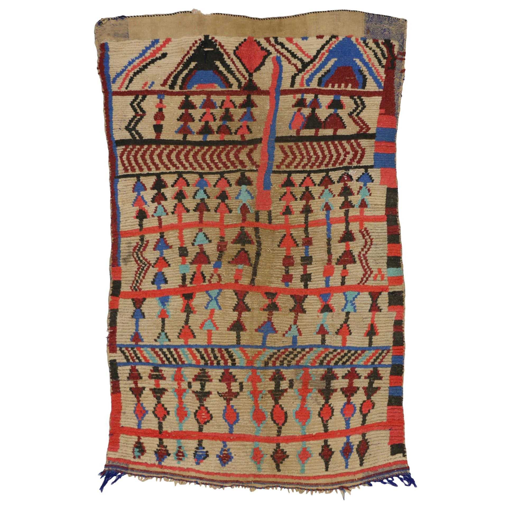 Vintage Berber Moroccan Rug in Tribal Style, Accent Tribal Rug