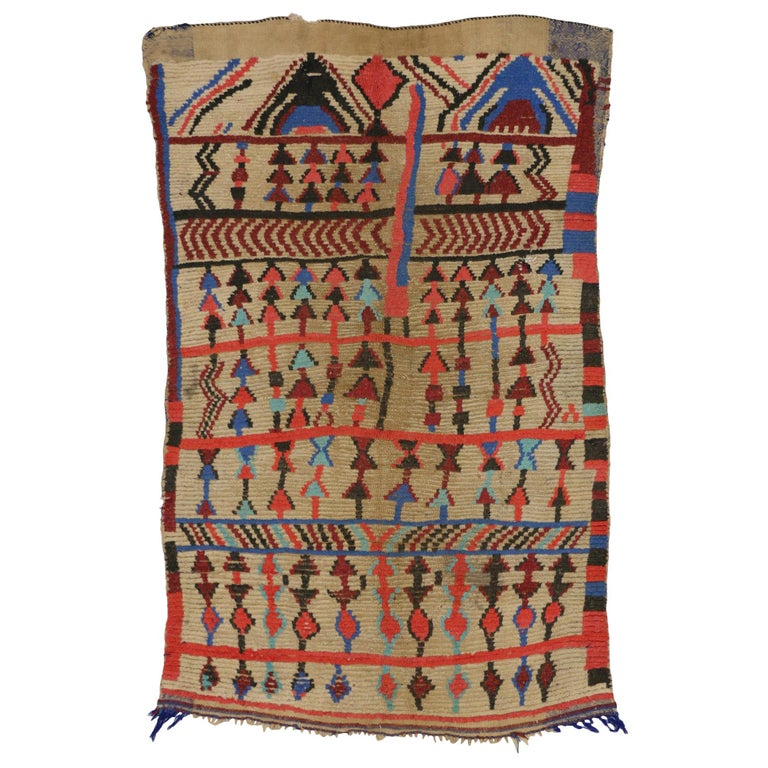 Vintage Berber Moroccan Rug In Tribal Style, Accent Tribal