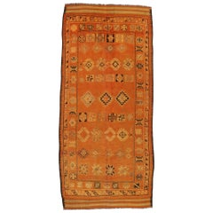Vintage Berber Moroccan Rug Runner with Tribal Style