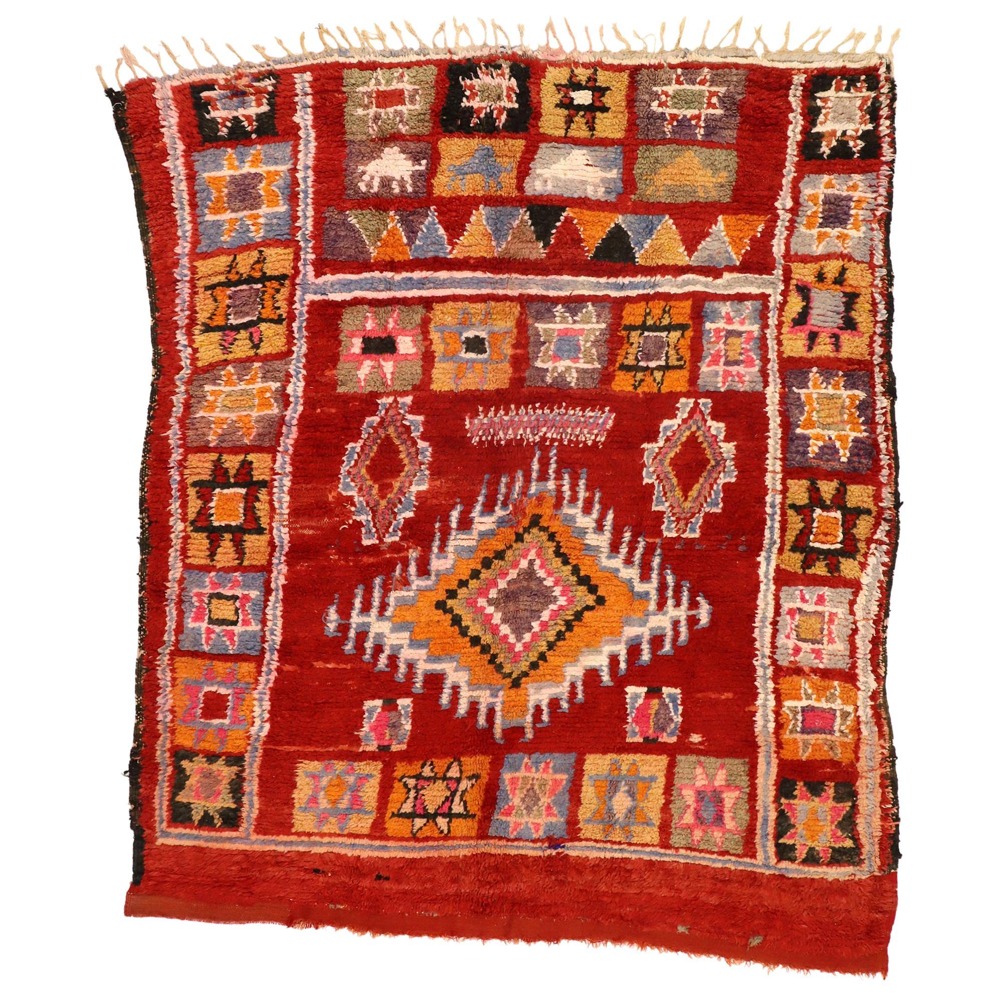 Vintage Berber Moroccan Rug with Boho Chic Tribal Artisan Style