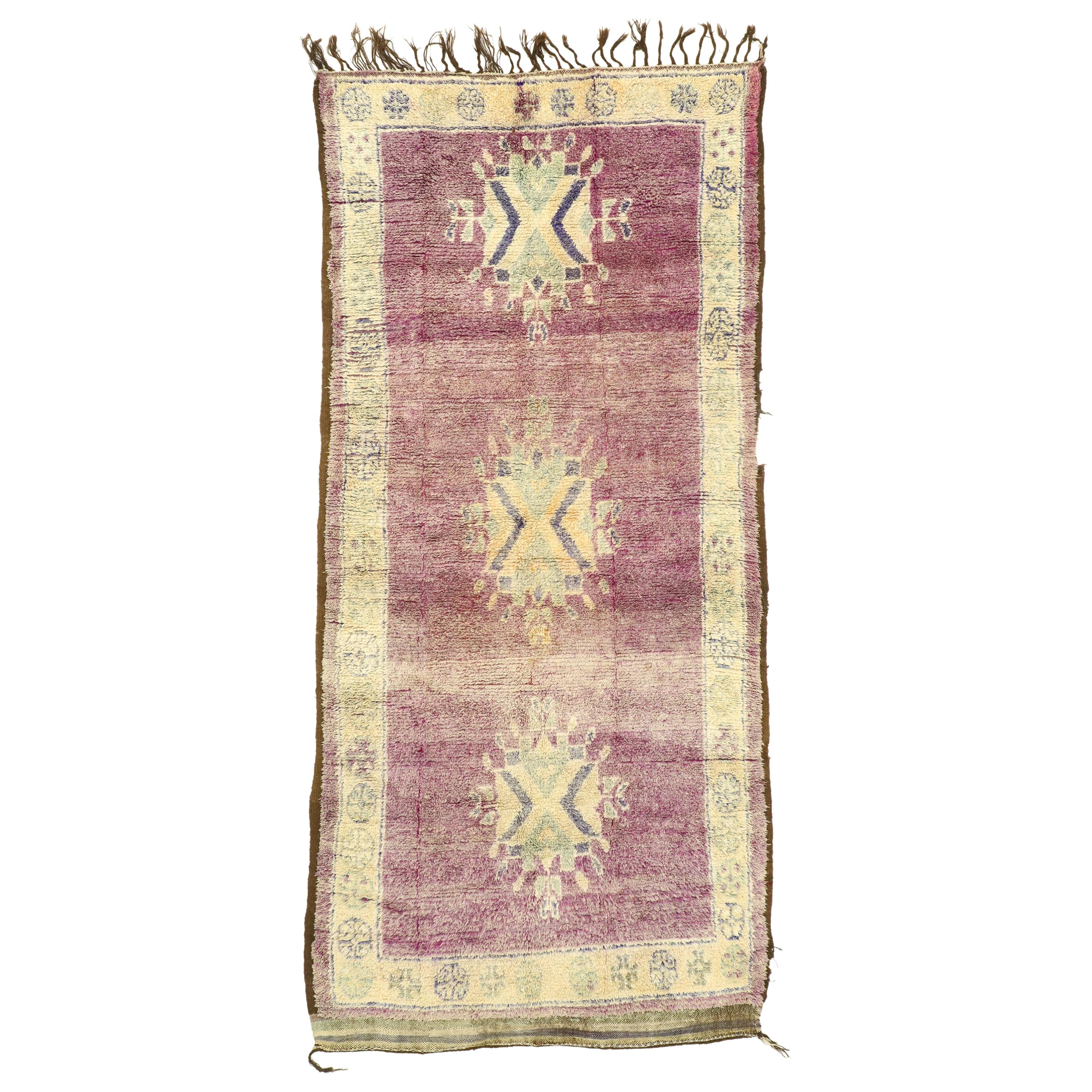 Vintage Berber Moroccan Rug with Boho Chic Tribal Style