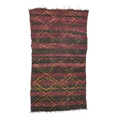 Vintage Berber Moroccan Rug with Checkerboard Design and Cubism Style