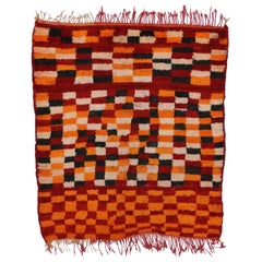 Vintage Berber Moroccan Rug with Postmodern Cubism Bauhaus Style