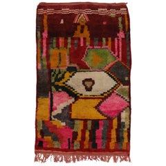 Vintage Berber Moroccan Rehamna Rug With Cubism Bauhaus Style