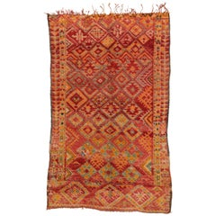 Vintage Berber Moroccan Rug with Diamond Pattern and Modern Tribal Style