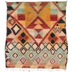 Vintage Berber Moroccan Rug with Memphis Design and Postmodern Style