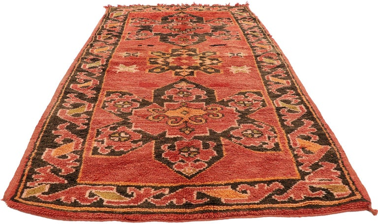 Hand-Knotted Vintage Berber Moroccan Rug with Mid-Century Modern Style For Sale