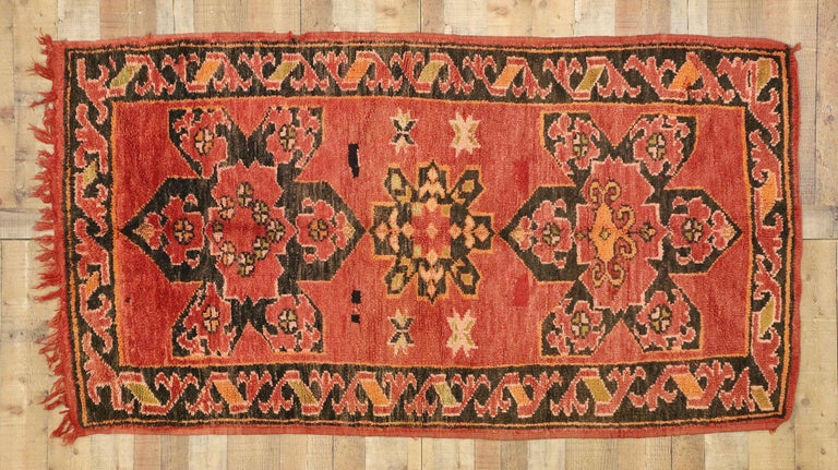 Wool Vintage Berber Moroccan Rug with Mid-Century Modern Style For Sale