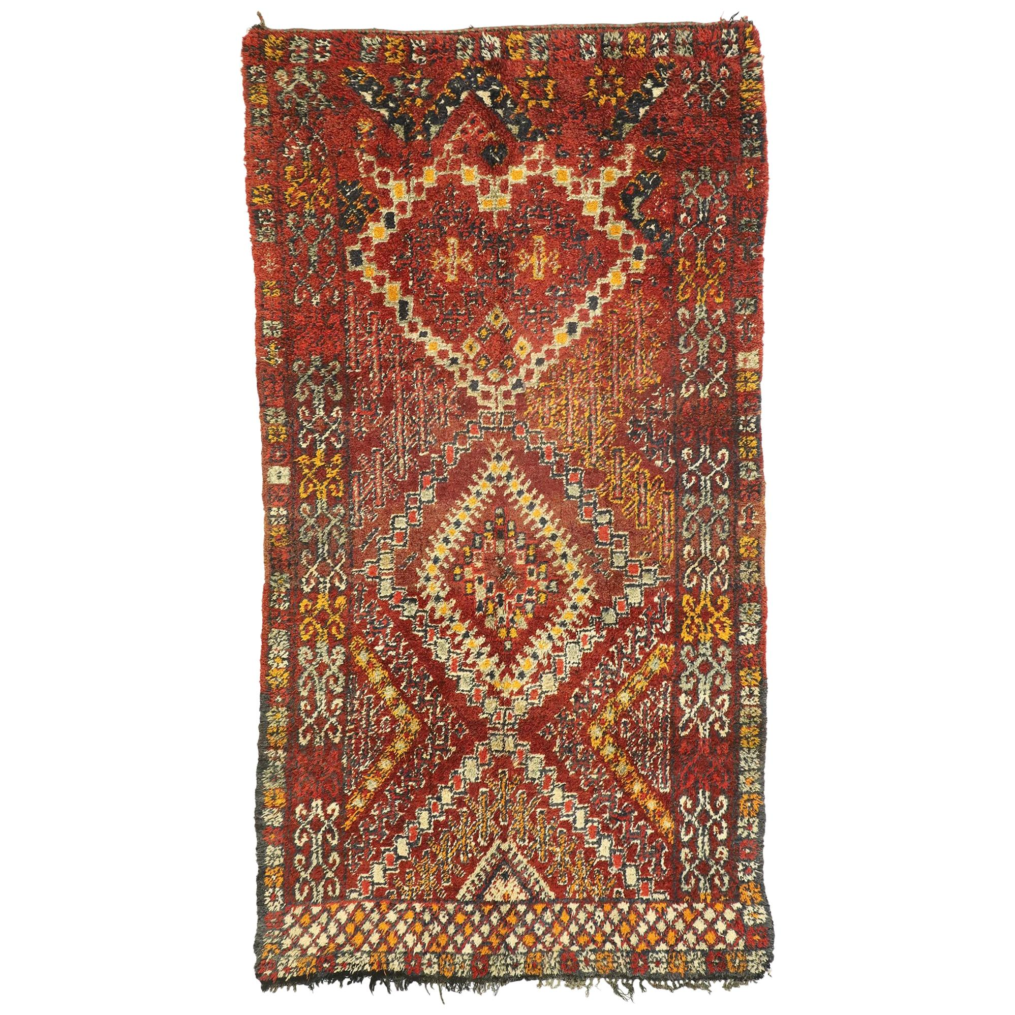 Vintage Berber Moroccan Rug with Mid-Century Modern Style