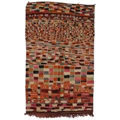 Vintage Berber Moroccan Rehamna Rug with Post-Modern, Bauhaus Cubism Style