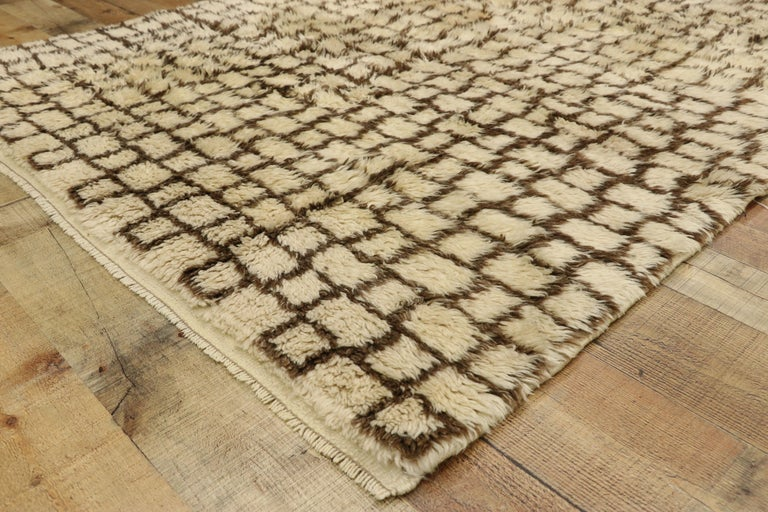 20th Century Vintage Berber Moroccan Rug with Modernist Bauhaus Style and Cubism Design For Sale
