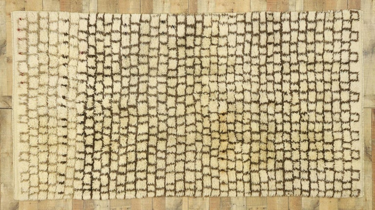 Vintage Berber Moroccan Rug with Modernist Bauhaus Style and Cubism Design For Sale 1
