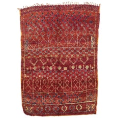 Vintage Berber Moroccan Rug with Postmodern Boho Chic and Memphis Style