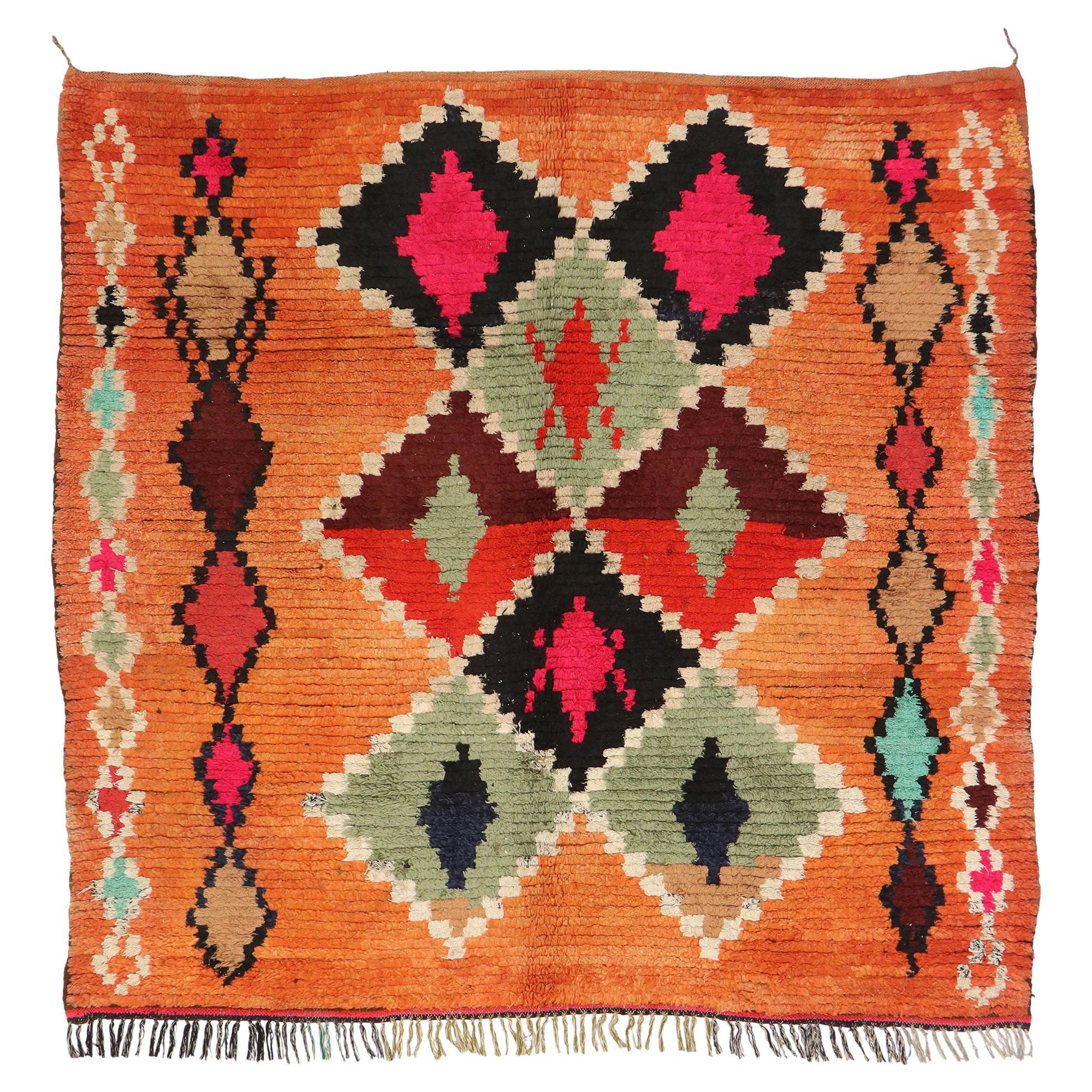 Vintage Berber Moroccan Rug with Postmodern Boho Chic Style
