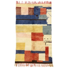 Vintage Berber Moroccan Rug with Postmodern Cubism Bauhaus Mondrian Style