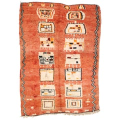 Vintage Berber Moroccan Rug with Tribal Design and Cubism Style