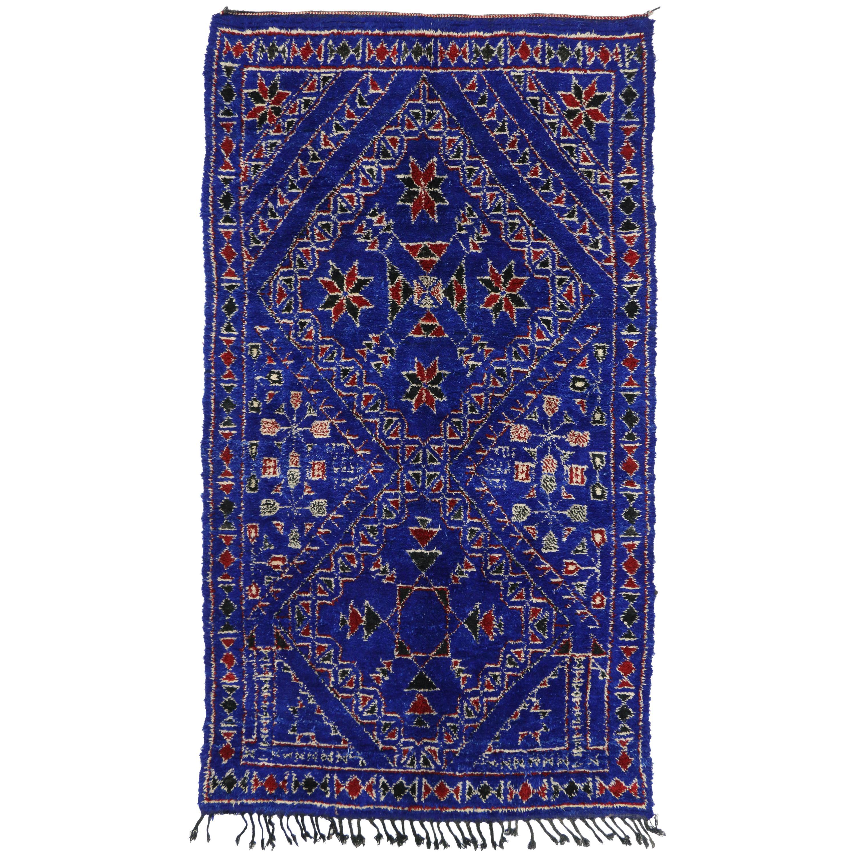 Vintage Indigo Beni Mguild Rug with Tribal Style, Berber Blue Moroccan Rug