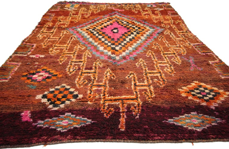 Vintage Berber Moroccan Boujad Rug with Tribal Style For Sale 4