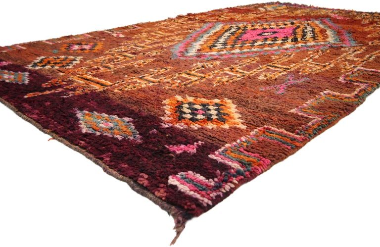 Vintage Berber Moroccan Boujad Rug with Tribal Style For Sale 5